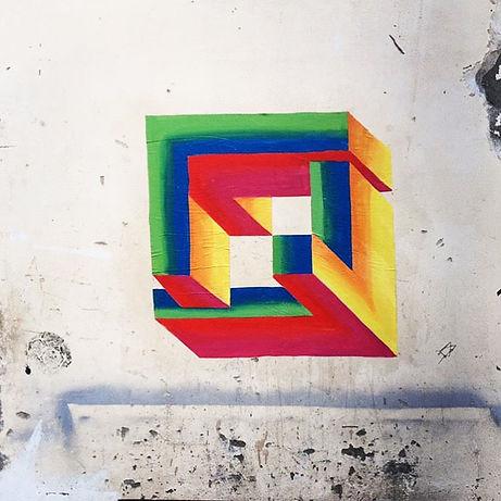 escher art, hard edge, geometric art, impossible geometry, penrose art, tel aviv public art, street art during covid, corona art