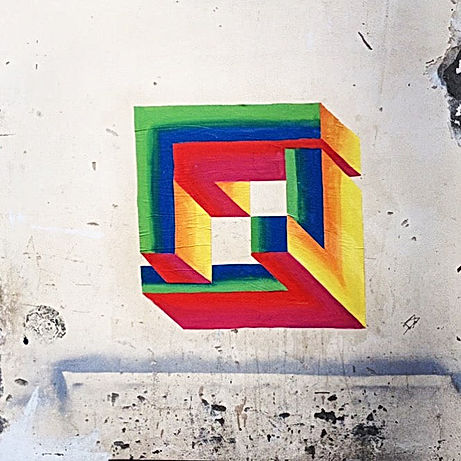 escher art, hard edge, geometric art, impossible geometry, penrose art, tel aviv public art, street art during covid, corona art