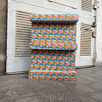 optical illusion art, escher cube colors, palette upcycle art, face the climate emergency, artist for climate change, israeli art market, art and sustainability