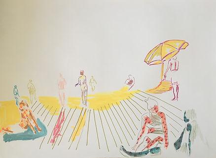 frishman beach, tlv illustration, bograshov beach, tel aviv culture, img, color surface pattern, israeli artist