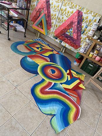 studio visit tlv, wheatpaste art, colorful art, rainbow for hope, optical illusion art, op art, colorfield painting, studio art tlv
