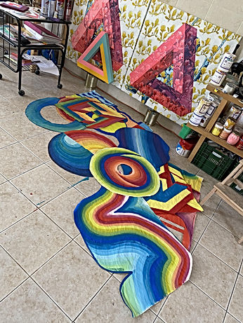 studio visit tlv, wheatpaste art, colorful art, rainbow for hope, optical illusion art, op art, colorfield painting, studio art tlv