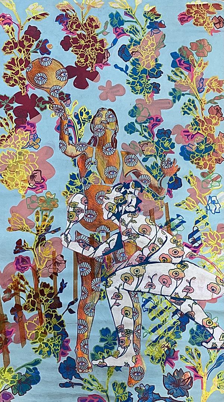 matkot, tlv beach, color pattern, surreal painting, pattern people, israeli artists,img
