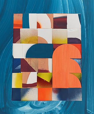 contemporary collage, color theory collage, img,geometric collage, israeli design, tel aviv design, framed artwork for sale, art on paper