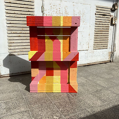 wood palette, palette design, color theory, josef albers art, red spectrum, climate change, israeli artist