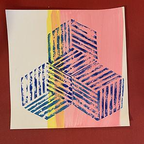 abstract print, lino print, op art print, escher print,img, pattern print, color theory art
