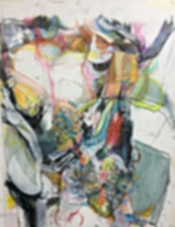 kayo alberts, jessica moritz, art collaboration, worn on mylar, painting, nyc, nyc art, female artist, pattern art, collab