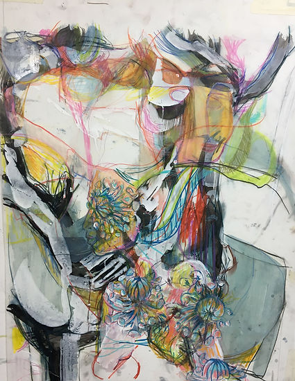 kayo alberts, jessica moritz, art collaboration, worn on mylar, painting, nyc, nyc art, female artist, pattern art, collab