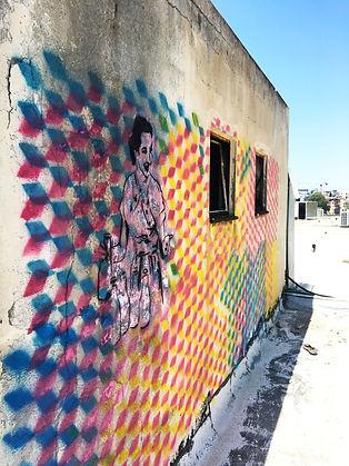 graffiti tlv, rooftop tlv, escher cube, feminist street art, stencil graffiti, stencil art tel aviv, img