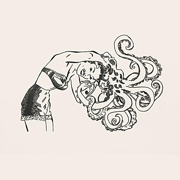 vintage ink illustration, multi tasking women, women super power, busy like a boss, surrealist women, ink tel aviv