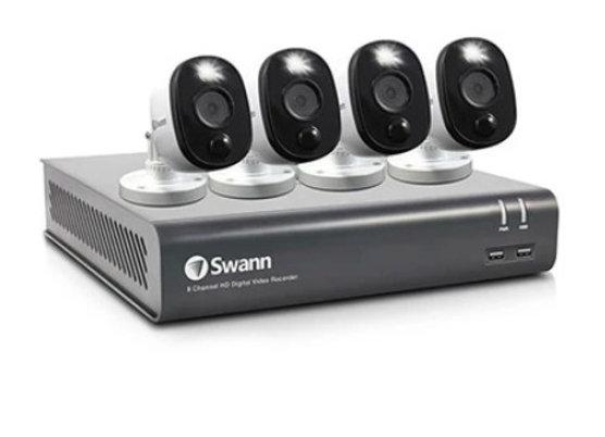 8-CH 1TB HD DVR SEC SYS 4 X 1080P PIR OD BULLET CAM