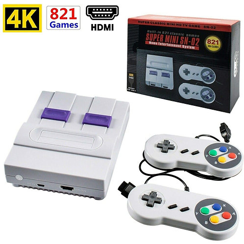Built-In 821 Games Mini Game Console 8 Bit Retro HDMI Output Two Players
