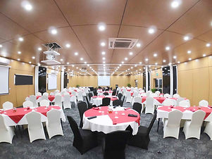 Classroom style setup when all rooms combined at Gazelle International Hotel