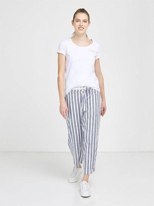 Pantalon raccourci coupe large rayé BLEU PROVENCE
