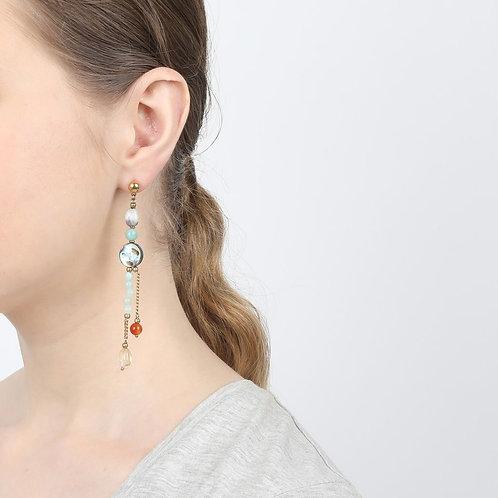Boucles d'oreilles longue 2 rangs