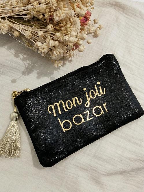 "POCHETTE ""mon joli bazar"" noir"
