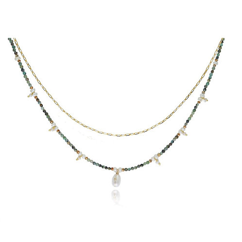 COLLIER  PEARLY TURQUOISE PERLE