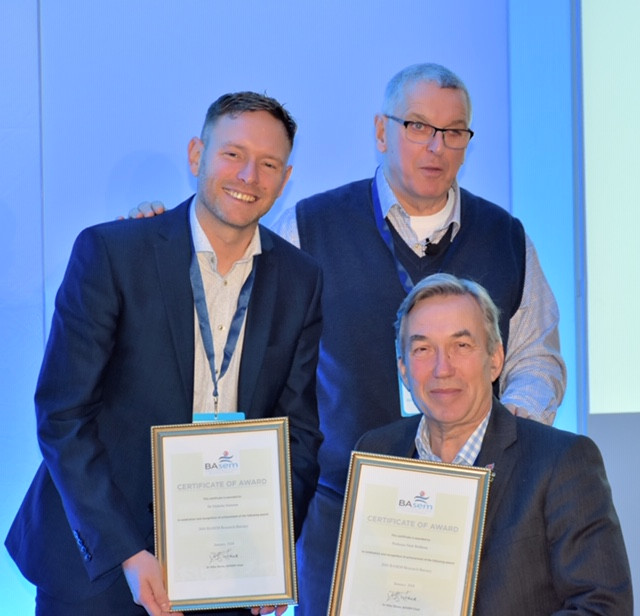 Prof Nick Webborn & Dr Nick Smeeton receiving BASEM award