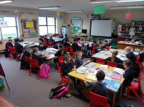 First class engrossed in their books