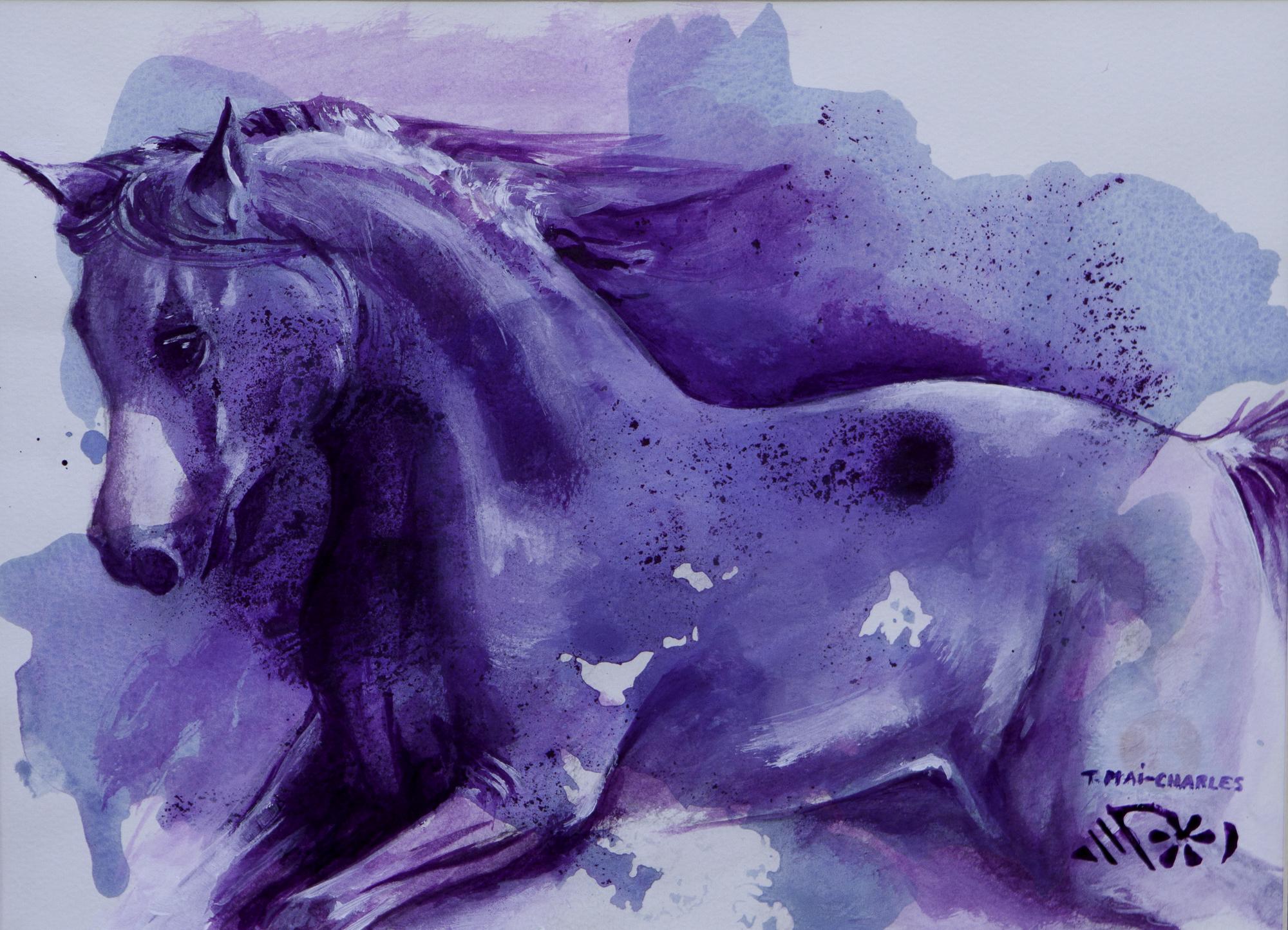 Cheval violet et bleu