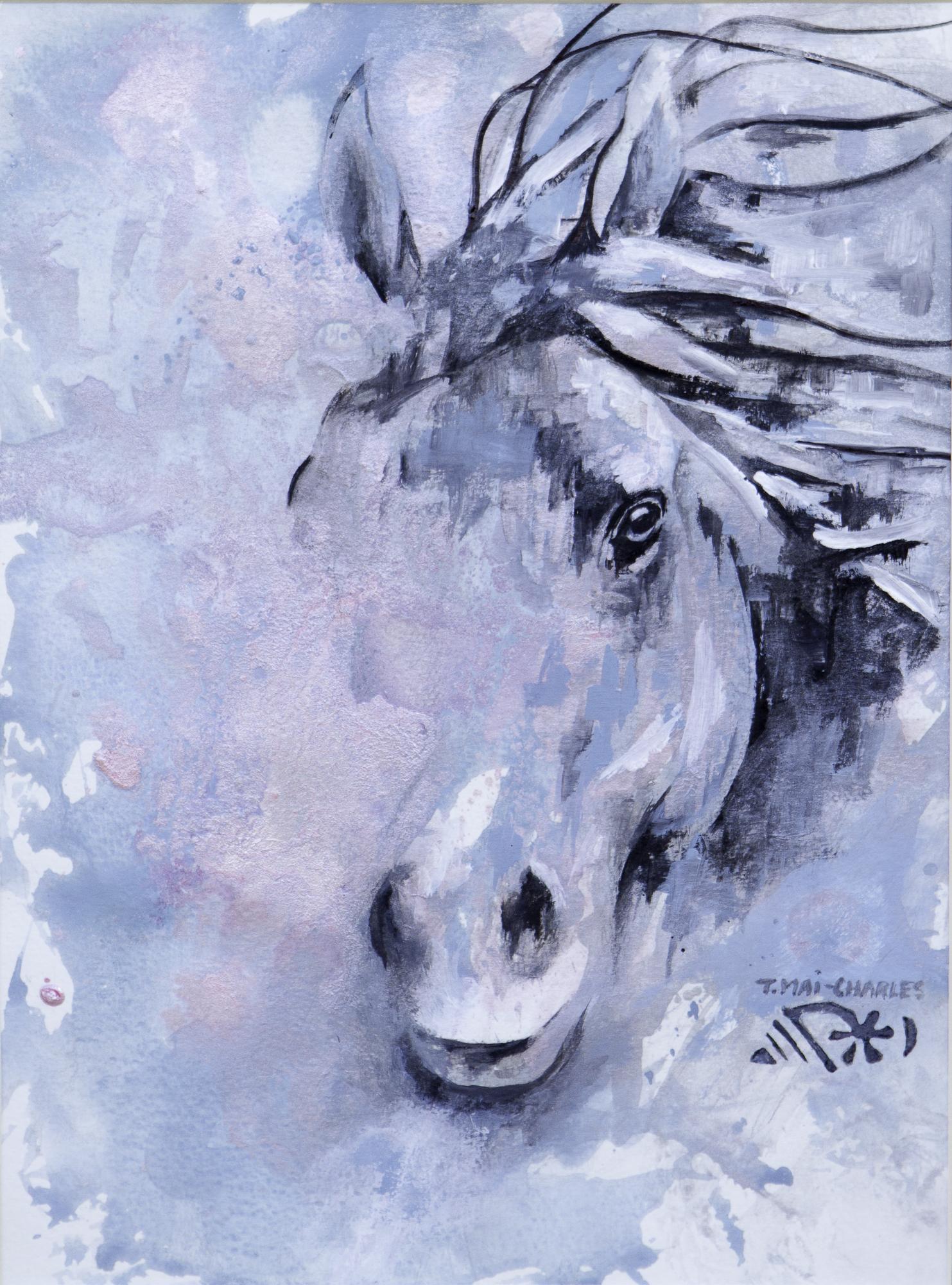 Tête de cheval rose et bleu