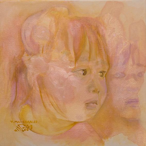"""""""Portrait d'enfant et son reflet, rose"""""""