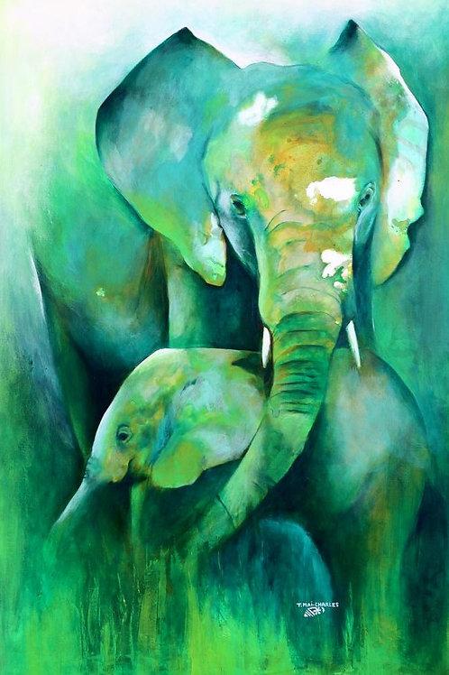 """""""Eléphant et son éléphanteau"""""""