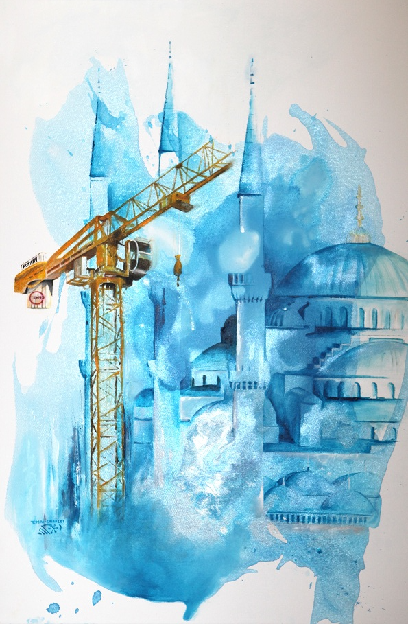 Crane  and Blue Mosque