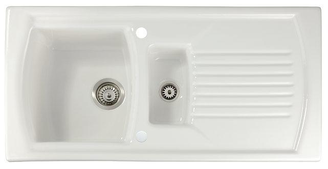 Tatton 1.5 bowl ceramic sink & drainer