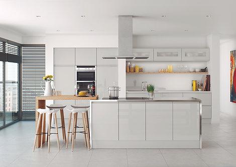 Handleless High Gloss Lucente Light Grey Kitchen Doors