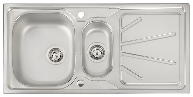 Trydent 1.5 bowl stainless steel sink & drainer