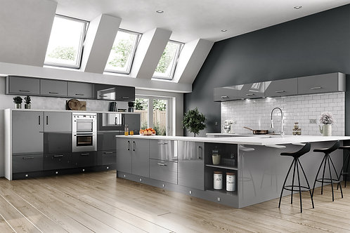 High Gloss Dust Grey Kitchen Doors