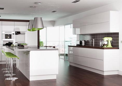 Handleless High Gloss Lucente White Kitchen Doors