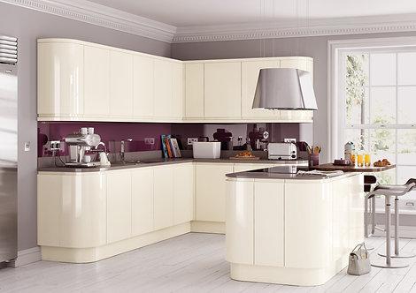 Handleless High Gloss Lucente Cream Kitchen Doors