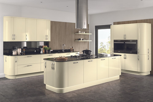 High Gloss Ivory Kitchen Doors