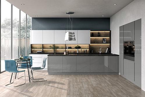 Handleless High Gloss Lucente Dust Grey Kitchen Doors