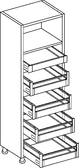 Light Grey SmartLarder Complete 1970mm Height, 600mm Width