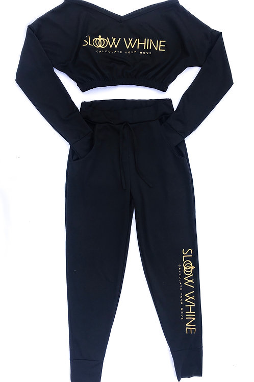 Black Cropped Tracksuit