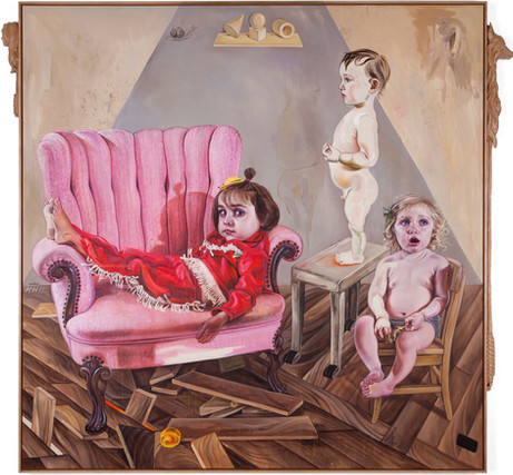 KATI HECK Vorbesprechung, 2019 oil on canvas, artist frame with wooden sculpture 200 x 200 cm