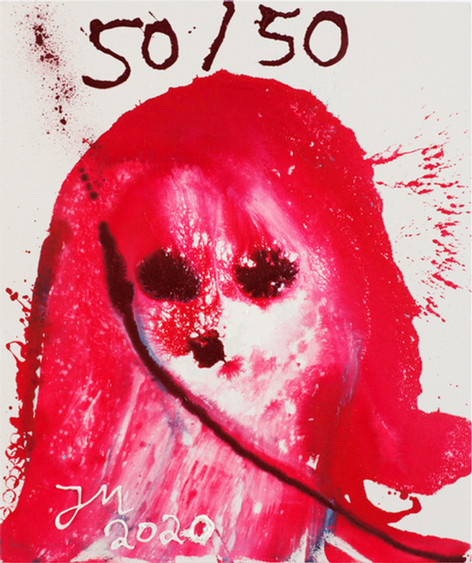JONATHAN MEESE MEIN CHEF CHEFT K.U.N.S.T.!, 2020 acrylic on coarse untreated cotton cloth 120,5 x 100,3 x 3,3 cm