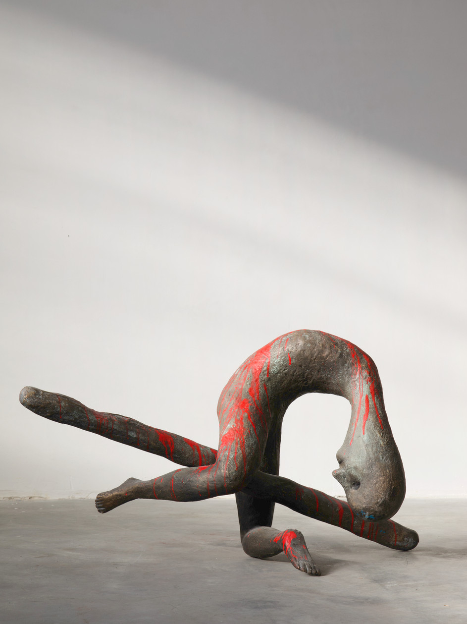 HENK VISCH Im Simulationsraum, 2019 bronze, paint h. 65 cm edition of 3