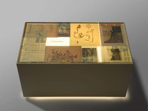 ANTON HENNING Mintrex (Künstler-Leuchtmöbel), 2013 wood, glass, light element, collage, gel mat 50 x 92,5 x 52,2 cm