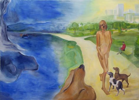 TOMASZ KOWALSKI Dog's Dream (A.I. Dreaming), 2018 oil on canvas 180 x 250 cm