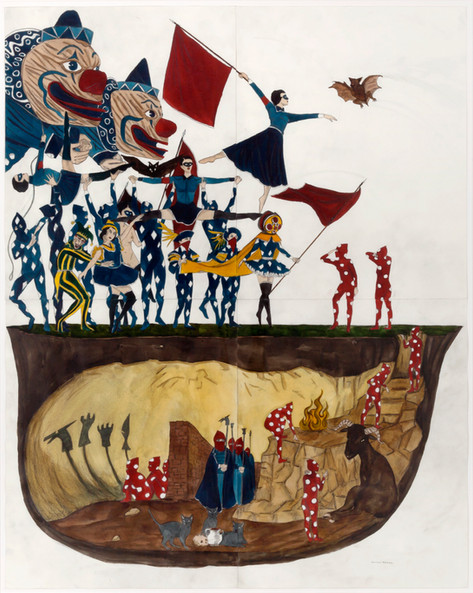 MARCEL DZAMA Positively Plato's Cave, 2015 watercolor, gouache and graphite on paper in four (4) parts 71,1 x 55,9 cm