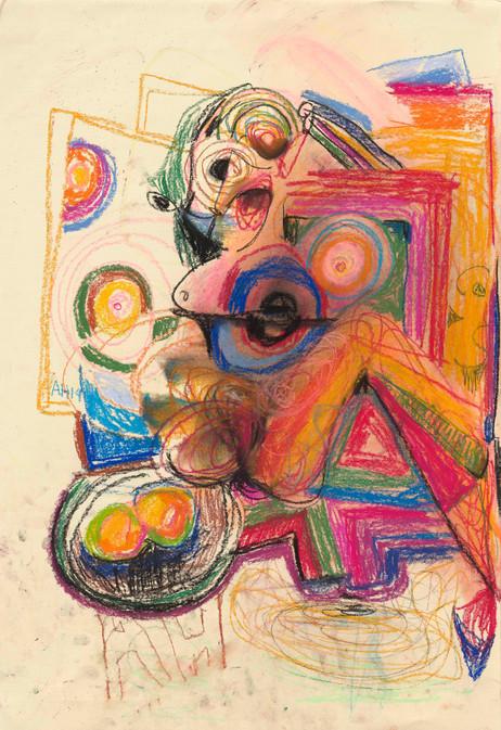 ANTON HENNING Skizze No. 2 für Pin-up mit Früchten, 2019 pastel on paper 86 x 59 cm, 111,5 x 82 x 4 cm (frame)
