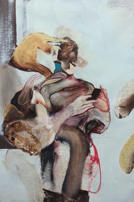 ADRIAN GHENIE Self-Portrait with iPhone 3, 2020 oil on canvas 150 x 100 cm