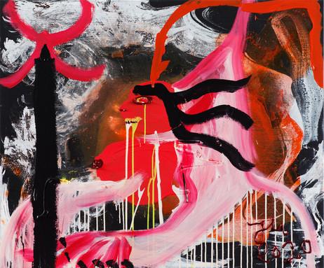 JONATHAN MEESE ART SPHINX DE KUNST (NONNINEIRRE), 2020 acrylic on canvas 100,3 x 120,5 x 3,3 cm