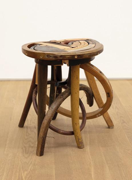 GELATIN Emma, 2019  wood, used furniture parts, metal  45 x 44 x 49 cm
