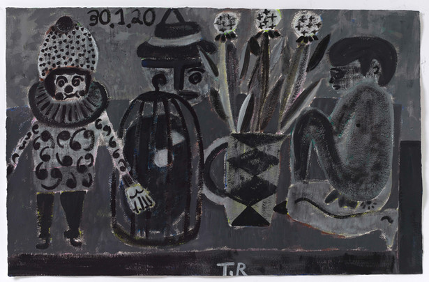 TAL R Walkman, Sinai & tuesday, 2020 gouache on paper 80 x 125 cm