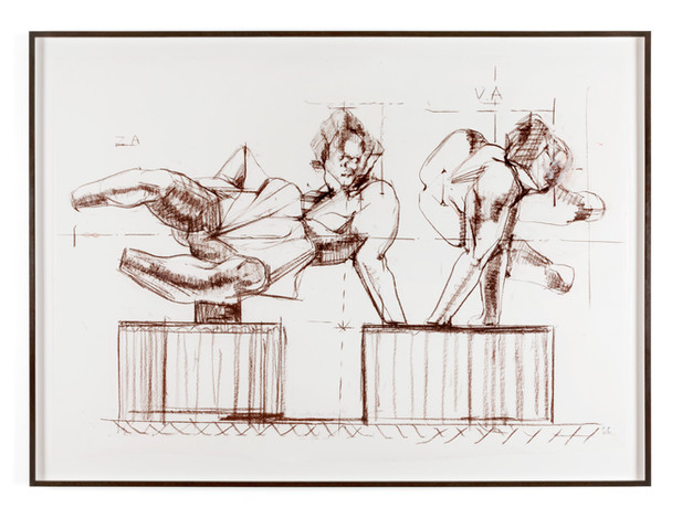 PETER ROGIERS Two Reclining Figures, 2020 conté crayon on paper 95 x 145 cm